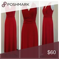 """Enfocus Studio Red Maxi Dress size 12 Enfocus Studio Red Maxi Dress  size 12  Special occasion, date night, evening out  Easy care polyester Super flattering fit Deep, rich red Bodice is fully lined This dress drapes beautifully   EUC No stains, rips, tears, holes, marks, snags or blemishes.  36"""" from bottom of ruched waistband to hem bottom 17"""" from shoulder to bottom of ruched waistband Enfocus Studio Dresses Maxi"""