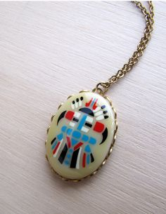 Native American Symbol Cameo Necklace by LittleSixty on Etsy, $26.00