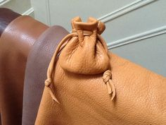 Leather Drawstring Pouch Bag  Sage Pouch  by Shirlbcreationstoo, $14.00