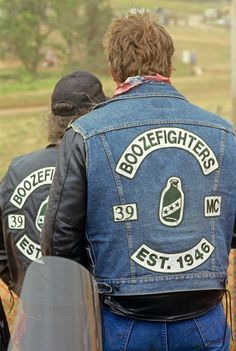 """Boozefighters MC 'The Original Wild Ones'. Some member once said """" We're a drinking club with a motorcycle problem""""."""