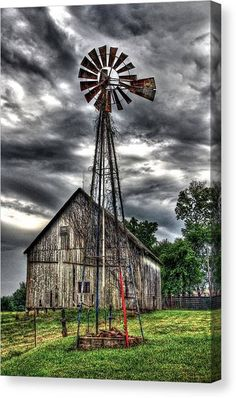 Farm Windmill, Windmill Art, Country Barns, Country Life, Country Living, Country Roads, Old Windmills, Farm Pictures, Barn Art