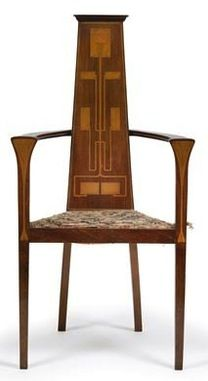 Arts and Crafts armchair, England, ca. 1900, mahogany, stylised floral inlay decorating the back- and arm rests, height: 114,5 cm