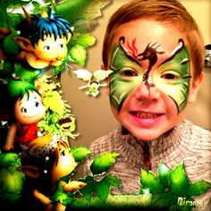 Dragon Face Painting for Boys - dragon tribal-esque body along nose, wings over eyes Dragon Face Painting, Face Painting For Boys, Bday Girl, Face Design, Fundraisers, Halloween Face Makeup, Birthdays, Wings, Party Ideas