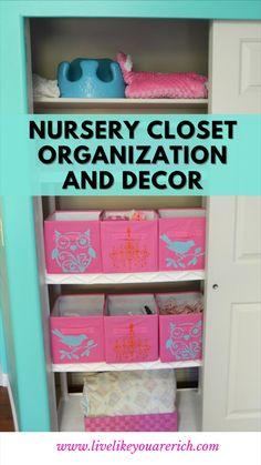 Nursery Closet Organization, Home Organization, Organizing, Linen Cabinets, Home Daycare, Nursery Decor, Nursery Ideas, Built In Wardrobe, Getting Organized