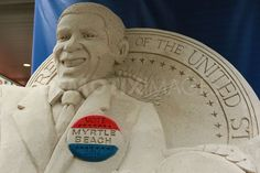 A sand sculpture of Barack Obama seen at the DNC.