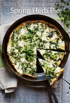 Keep it fresh with this Skillet Spinach, Pea Shoot and Spring Herb Pie recipe. It's a super easy egg recipe!