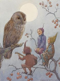 View A carol for brown owl by Margaret Winifred Tarrant on artnet. Browse upcoming and past auction lots by Margaret Winifred Tarrant. Fantasy Kunst, Fantasy Art, Elves And Fairies, Vintage Fairies, Vintage Art, Flower Fairies, Owl Art, Fairy Art, Fairy Music