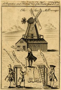 """""""A perspective and political view of the timber-yard at L-e""""; Charles Dingley is sawing through the Magna Carta and the Bill of Rights. Dingley, who patented a saw mill in Limehouse, was a rival candidate to John Wilkes in the Middlesex election of 1769 From Oxford Magazine 1769 April / Political Reg. V 4. P 243"""