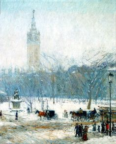 "Childe Hassam (Oct. 17, 1859 - 1935): Snowstorm, Madison Square, c. 1890 - oil on canvas (The Peabody Art Collection)  ""Hassam was a leadi..."