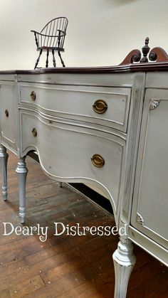 Heritage Collection in Cobblestone, by Heirloom Traditions paint. #buffet #painted #cobblestone #vintage #server #htpaint