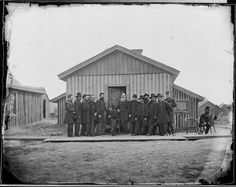 General Ulysses S. Grant and his staff at his headquarters at City Point, VA during the Siege of Petersburg American Civil War, American History, Siege Of Petersburg, Still Picture, War Image, Photo Maps, B 13, Civil War Photos, National Archives