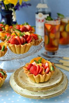 Pimm's fruit tarts - a very British summer dessert