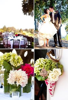 centerpieces- i like the different vase sizes with the leaf wraped and different flowers in each of the 3!