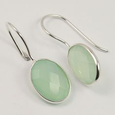 925 Solid Sterling Silver Natural AQUA CHALCEDONY Gemstones Gorgeous Earrings #Unbranded #Stud