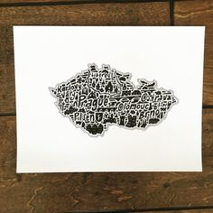 "Czech Republic Map Art Print - Signed 8.5"" x 11"" print of original hand drawn map including landmarks, culture, symbols, and cities-- I ordered this for Christmas and it is AMAZING!  This is a wonderful artist.  Go buy some art."