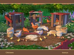 "A set of chickens for your farms. Includes 10 objects. Items in the set"" Found in TSR Category 'Sims 4 Decorative Sets' Best Sims, My Sims, Sims Cc, Sims 4 Pets, Sims 4 Traits, Sims 4 Clutter, Sims Four, Sims 4 Toddler, Sims 4 Cc Furniture"