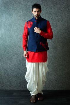 Embroidered Navy Blue Silk Nehru Jacket with Bright Red Kurta Wedding Dress Men, Wedding Suits, Wedding Wear, Wedding Attire, Indian Groom Wear, Indian Wear, Indian Men Fashion, Mens Fashion, Mens Traditional Wear