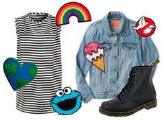 Outfit mit Jeansjacke mit Aufnähern, kombiniert mit einem leichten Sommerkleid und schweren Doc Martens #plussize