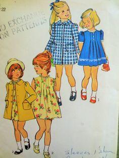 Vintage Simplicity 6182 Sewing Pattern, Child's Dress Pattern, Coat Pattern, Tucks Peter Pan Collar, 1970s Dress Pattern, 70s Sewing Pattern by sewbettyanddot on Etsy