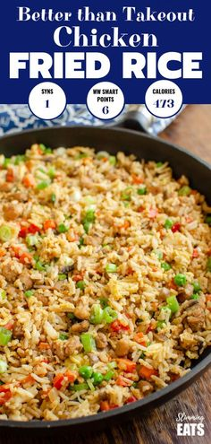 Recipes Slimming World Better than takeout low syn Chicken Fried Rice - satisfy your cravings with this ready in less than 20 minutes dish! - dairy free, gluten free, Slimming World and Weight Watchers friendly Slimming World Fakeaway, Slimming World Dinners, Slimming World Chicken Recipes, Slimming World Diet, Slimming Eats, Slimming World Chicken Fried Rice, Slimming World Lunch Ideas, Slimming Workd Recipes, Slimming Worls