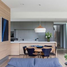 Hart House. Completed 2016. Various shades and textures of blue / grey have been threaded through the living spaces, picked up in the #inax splashback tiles, walls, fabric, furniture and artwork. Photo by @hilarybradford Built by @philipbuilding Interior Furnishings and art by POMP. #melbournearchitecture #victoriaarchitecture #architecture #contemporaryarchitecture #gleniris #interiors #interiorarchitecture #cocoflip @artedomus