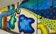 Create a mural based on music instruments and notes.  *Picasso's Three Musicians?  Lesson on shape? *3rd grade