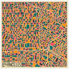 Los Angeles (Downtown) - Modern Abstract City Maps by Jazzberry Blue Abstract City, Colorful Abstract Art, Blue Abstract, Los Angeles Map, Illustration Arte, City Map Poster, Map Posters, Art Carte, City Maps
