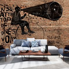 Papier peint - City News : Art Déco - Wall Designers Brick Effect Wallpaper, 3d Wallpaper Mural, Original Wallpaper, Graffiti Murals, Wall Murals, Ingrain Wallpaper, Contemporary Furniture, Country Decor, Modern Decor