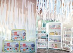 """Mayor Dylan's Charming """"My Own Little Town"""" Themed Party – Giveaways Soft Colors, Green Colors, Party Giveaways, Striped Table, Pastel Palette, White Balloons, Party Themes, Party Ideas, Event Styling"""