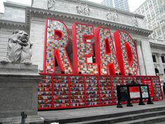 Outside New York Public Library a 26-ft tall by 40-ft wide display made up of 25,000 Dr. Seuss books was created for the program Read Across America.