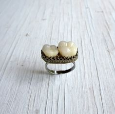 Huh!? .....Memento Mori Tooth Ring Human Teeth Jewelry Ossuary Bone Jewelry on Etsy,
