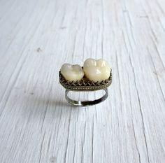 Memento Mori Tooth Ring Human Teeth Jewelry by AustinModern, $145.00
