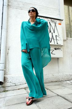 Turquoise Green  Loose Chiffon Shirt / Wide Leg Pants / Asymmetric shirt/ Oversize top with pants