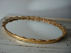 vintage mirrored vanity tray/gold oval vanity tray/vanity tray with roses