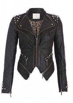 Rocking Cool Black Studded Punk Style PU Faux Leather Slim Fit Moto Jacket  Price : $64.90 http://www.pretty-attitude.com/Rocking-Black-Studded-Leather-Jacket/dp/B00FKVRSPY