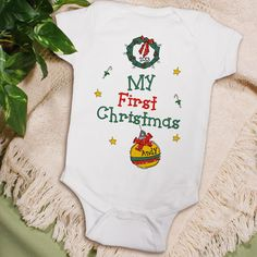 My 1st Christmas Personalized Infant Baby Creepers. Your child will look adorable for Christmas morning photographs while joyfully open Christmas gifts from Santa in this cute, Personalized 1st Christmas Infant Creeper. Our Personalized First Christmas Infant Creeper is available on our premium 5 oz, 100% white cotton Personalized Infant Creeper with crew neck, double-needle hemmed sleeves and binding at the legs with three snap bottom. Machine washable in infant sizes NB-18 mos.