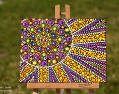 Citrus Sunshine original dot art painting mandala acrylic paints on canvas board dotpainting