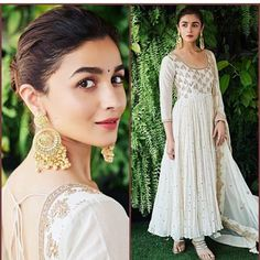 White Anarkali with embroidery work Punjabi suit long gown wedding suit summer wedding dress long ku White Anarkali, Anarkali Dress, Anarkali Suits, White Salwar Suit, Nikkah Dress, Sari Dress, Punjabi Suits, Indian Gowns, Pakistani Dresses