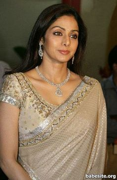 Sridevi in white saree with gold an silver work