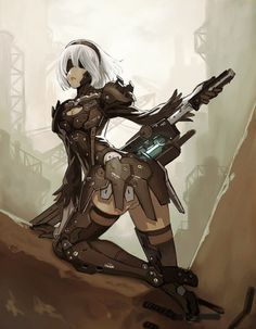 "his-shining-tears: ""Kenichirou Yoshimura (Metal Gear Rising) drew this amazing art to celebrate NieR Automata's release in Japan. """