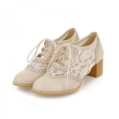 Comfortable, Elegant Beige Lace Oxford Heels Round Toe Block Heel Vintage Shoes you best choice for Date, Anniversary -TOP Design by FSJ Lace Oxfords, Chunky Heel Shoes, Oxford Shoes Outfit, Oxford Heels, Shoe Image, Wedding Shoes Heels, Vintage Shoes, Block Heels, Baby Shoes