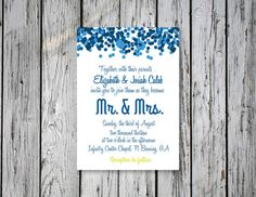 Bubbly Wedding Invitation / DIY Printing by RejoiceGraphics