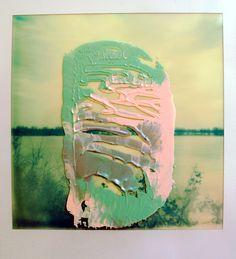 Elsa K. Gaertner: Overpainted Photograph - river Elbe, Polaroid & Acrylic