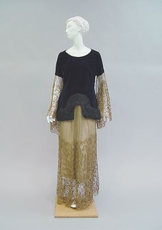 Evening ensemble Paul Poiret (French, Paris 1879–1944 Paris) Date: 1924 Culture: French Medium: cotton, fur, metallic thread, silk. Front