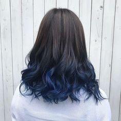 Hair Color Streaks, Hair Color Purple, Hair Dye Colors, Hair Color For Black Hair, Cool Hair Color, Hair Highlights, Black Hair With Blue Highlights, Blue Tips Hair, Colored Hair Tips