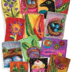 Needle felting wool,  fiber, and more for a simple needle felt artist trading card.