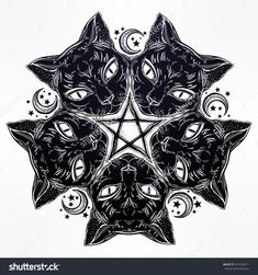 Black cat head round portrait madnala with moon, pentagram. Ideal Halloween and tattoo art, wicca, witchcraft, spirituality, boho design. For print, posters, t-shirts, textiles. Vector illustration.