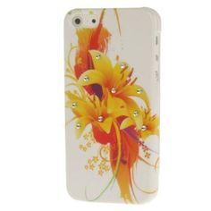 Iphone 5 Cover Orange mit Blume und Strassteinen (harte Rückseite) von CNP