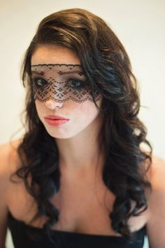 Masquerade Mask - Black Lace Mask - Mardi Gras Mask - Womens Eye Veil Costume - Strapless Face Lace Masks - Prom- Party - Theater - Ball Add a