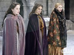 """Reign -- """"Toy Soldiers"""" -- Image Number: RE119a_0046.jpg -- Pictured (L-R): Anna Popplewell as Lola, Caitlin Stasey as Kenna and Celina Sinden as Greer -- Photo: Sven Frenzel/The CW -- © 2014 The CW Network, LLC. All rights reserved."""